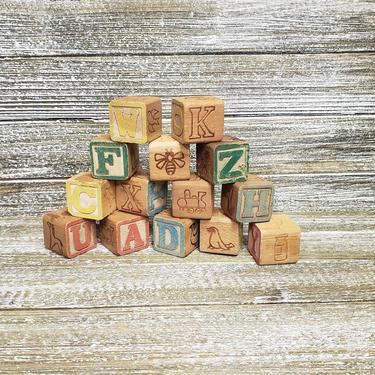 Vintage Alphabet Blocks, JAPAN Childs Learning Wooden Toy Blocks, Capital Letters Square Toddler Childrens ABC Building Blocks, Vintage Toys by AGoGoVintage