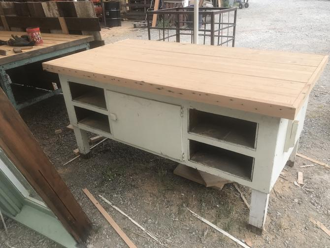 Heavy Old Work Table with Freshly Milled Butcher Block Top. 73W x  41D x 36H