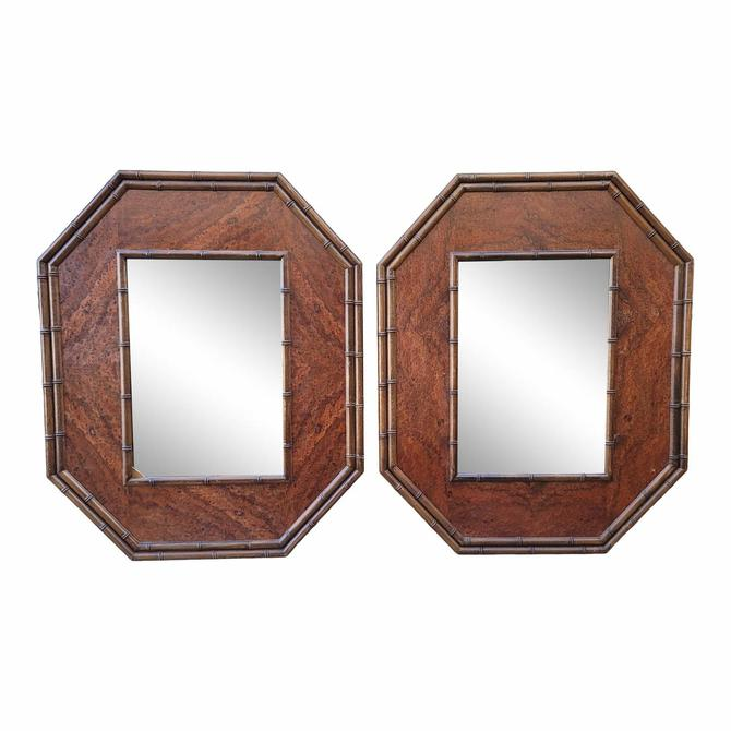 Vintage Campaign Style Octagonal Burlwood and Carved Wood Faux Bamboo Mirrors - a Pair