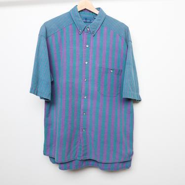 vintage STRIPED blue & purple nautical men's vintage boxy button up --size large mens shirt by CairoVintage