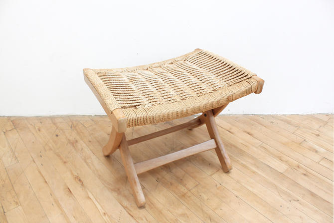Danish Cord Footrest Rope Folding Mid Century Modern Original Vintage by 330ModernAntique