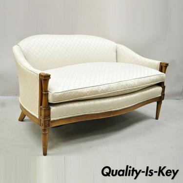 Vintage French Provincial Hollywood Regency Upholstered Settee Loveseat Sofa