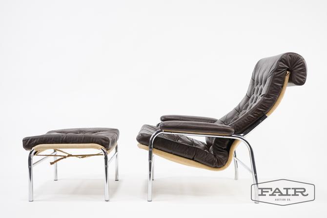 Noboru Nakamura Leather Lounge Chair with Ottoman