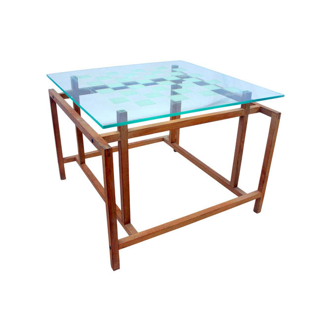 1960s Mid-Century Modern Henning Norgaard for Komfort Teak and Glass Side Chess Game Table by MetronomeVintage