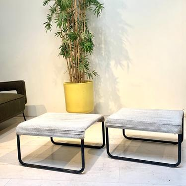 Rare Pair of VKG an Keppel-Green Outdoor Rope Stools Patio Ottomans Mid Century Modern Outdoor Patio Furniture by XcapeVintage