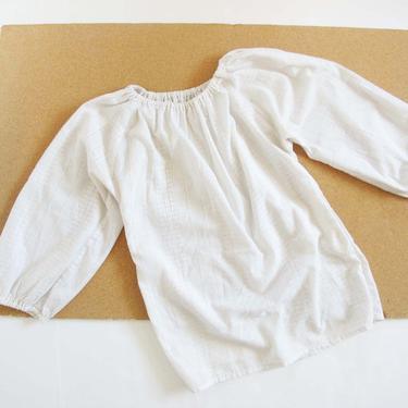 Vintage 70s Off The Shoulder Blouse S M - 1970s White Cotton Cold Shoulder Blouse - Boho Peasant Shirt - 70s Romantic Clothing by MILKTEETHS
