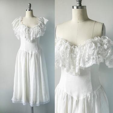 1980s Gunne Sax Dress Cotton Off Shoulder S by dejavintageboutique