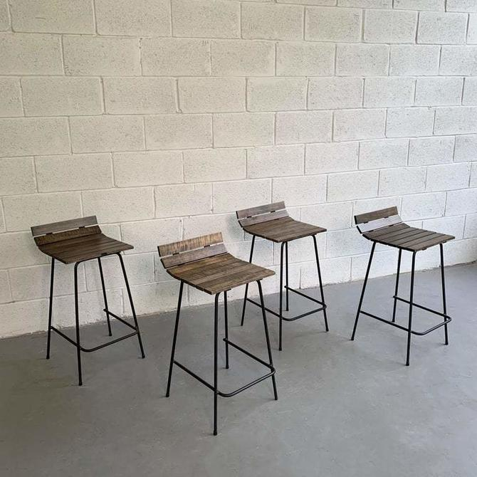 Custom Wrought Iron And Slat Maple Counter Height Stools