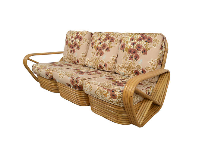 Bamboo and Rattan Modular Sofa made by Frankl Style Pretzel Arms by HearthsideHome