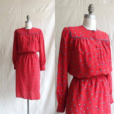 Vintage 80s Diane Von Furstenberg Silk Two Piece Set/ 1980s Puff Sleeve Prairie Blouse and Skirt/ Size Medium by bottleofbread