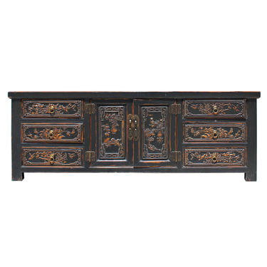 Chinese Distressed Brown Floral Motif Sideboard Console Table Cabinet cs5167E by GoldenLotusAntiques