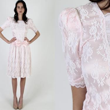 80s Light Pink Gunne Sax Dress / 1980s Romantic White Floral Lace Dress / Deco Bridal Tea Party Lawn Mini Dress 3 by americanarchive
