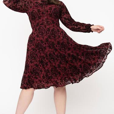 Unique Vintage Plus Size Burgundy La Catrina Velvet Burnout Leota Swing Dress