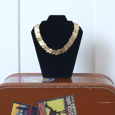vintage Trifari brushed gold statement necklace •1980s chunky modernist collar necklace • MCM choker by LivingThreadsVintage