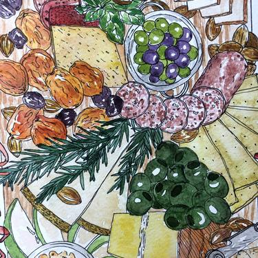 Let's Paint a Cheese Board (with Outlines), A Virtual Workshop- June 13