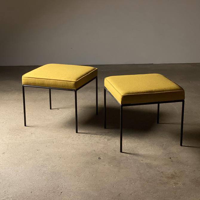 Fredrick Weinberg Modernist Iron Stool Pair by midcenTree
