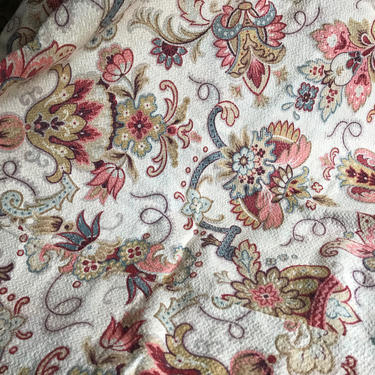 French Floral Indienne Cotton Fabric Remnant, French Textile, Period Projects by JansVintageStuff