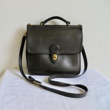 Vintage Coach Black Leather Willis Purse 9927 1990's Crossbody Shoulder Bag Brass Hardware Messenger Briefcase Top Handle Minimalist by seekcollect