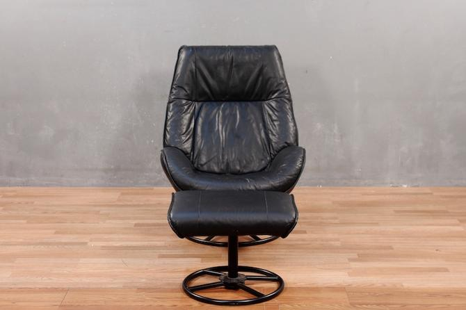 Magnificent Kebe Danish Modern Leather Reclining Lounge Chair With Theyellowbook Wood Chair Design Ideas Theyellowbookinfo