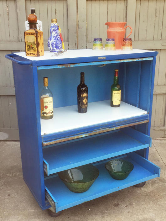Vintage industrial rolling bar/tool cabinet