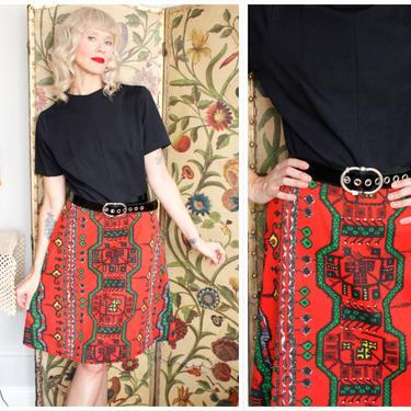 Early 1970s Dress // Bold Print Dress with Belt // vintage 70s dress by dethrosevintage
