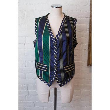 1990's | Esprit | Vintage Metallic Striped Vest by LadyofLizard