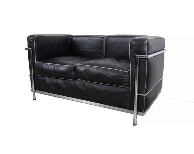 Charles Le Corbusier LC2 Style Petit Model Two-Seat Sofa Black leather and  Chrome sofa Mid Century Modern by HearthsideHome