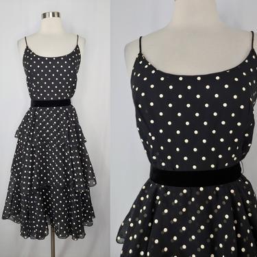 Vintage Eighties XS Polka Dot Spaghetti Strap Tiered Sun Dress - 80s Black and White Ruffled Dress with Velvet Belt by JanetandJaneVintage