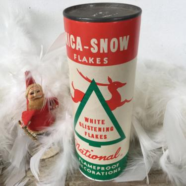 Vintage Christmas Mica Snow, National Tinsel Mfg.,  Shaker Of Unopened Mica Flakes, Manitowoc Wisconsin, Faux Snow, Crafting by luckduck