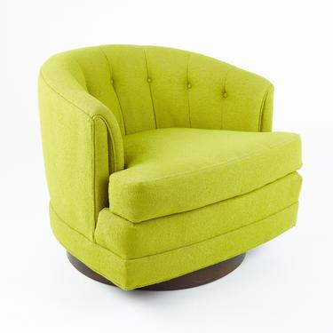 Milo Baughman For Thayer Coggin Style Mid Century Barrel Back Walnut Base Swivel Chair  - mcm by ModernHill