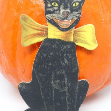 Antique 1940's Halloween Die Cut Black Cat with Bow, Vintage Retro Party Decor by exploremag