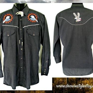Rock Creek Ranch Vintage Retro Western Men's Cowboy & Rodeo Shirt, Embroidered Blue and White Eagles, Tag Size Small (see meas. photo) by ShowinStyle