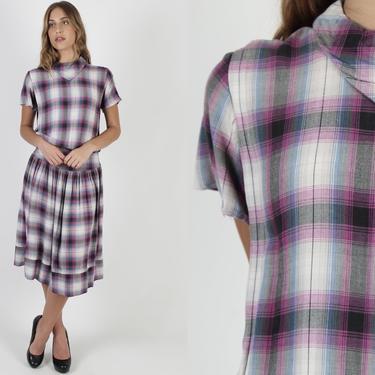 1950s Shadow Plaid Dress / Vintage 50s Scarf Collar Day Party / Cute Retro Secretary Drop Waist Mini Midi Dress by americanarchive