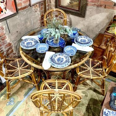 Rattan base dining table and 4 chairs