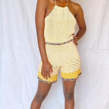 Yellow Crochet Halter Romper