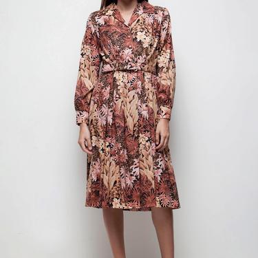 floral dress shirtwaist dress earth tone vintage 70s pleated botanical print brown MEDIUM M LARGE L by shoprabbithole