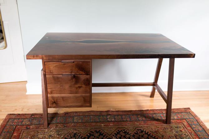 Walnut Desk with Black Epoxy by StocktonHeritage