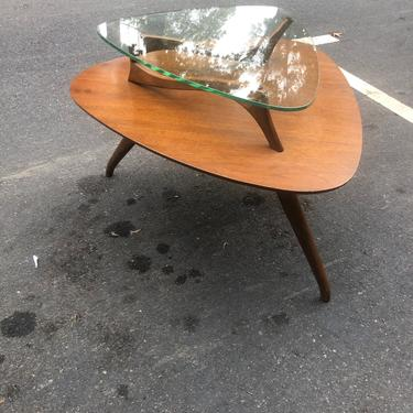 Mid Century Glass Top End Table by bcdrygoods
