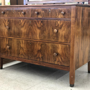 Free and Insured Shipping Within US - Early 1900s Mahogany Burlwood Dresser Storage Credenza Cabinet with hand Turned Wooden Knobs by BigWhaleConsignment