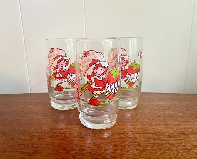 Set of 3- Vintage Strawberry Shortcake Collectable Water Glass, American Greeting Corp Cartoon Classics by BlackcurrantPreserve