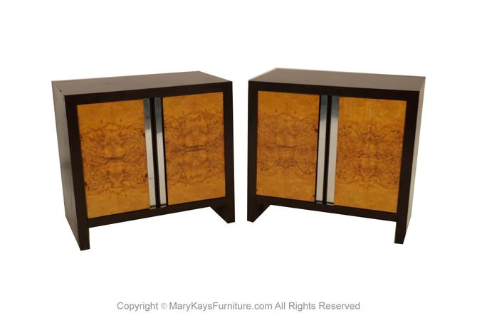 Pair Mid Century Milo Baughman Style Ebony Burl Nightstands Tables by Marykaysfurniture