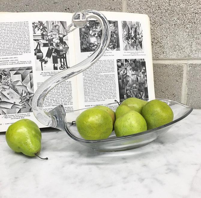 Vintage Fruit Bowl Retro 1980s Duncan & Miller Glass Co. + Crystal Swan + Catch All + Large Size + Home and Table Decor by RetrospectVintage215