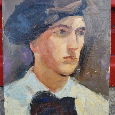 Art Deco period oil on artist board handsome male artist portrait by LazyDogAntiqueStore