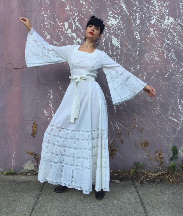Mexican Wedding Dress.Vintage 70s Mexican Wedding Dress White Pintucked Cotton And Lace Dress With Bell Sleeves Bridal Gown Boho Wedding Dress By Losgitanosvintage
