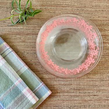 Vintage Pink Plates - Gooseberry Pink Floral Dessert Plates - Pyrex Gooseberry - 1950s pink dessert plates by SoulfulVintage