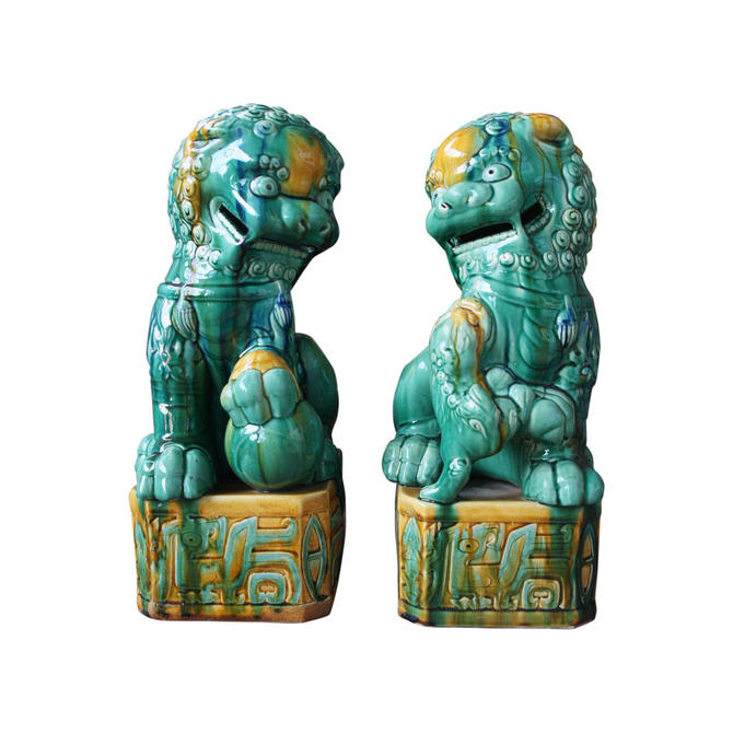 1950s Vintage Green and Gold Chinese Sancai Glazed Foo Dogs- A Pair by MetronomeVintage