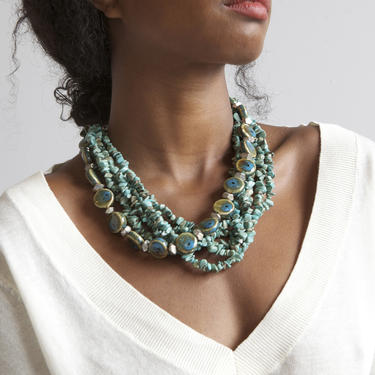 turquoise stone and ceramic necklace by EELT
