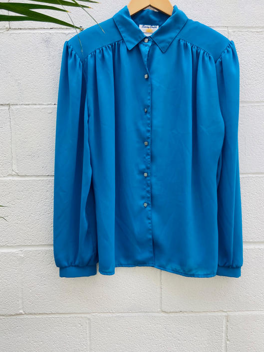 Light Blue Blouse with Puff Sleeve
