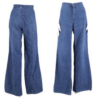 70s LOVE N STUFF saddle stitch high waist denim bell bottoms jeans 30  / vintage 1970s dark denim flares pants 8 by ritualvintage