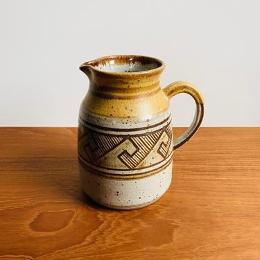 Beautiful vintage pottery pitcher by Wildfire / handmade stoneware jug with geometric pattern / boho farmhouse rustic earthy decor by EarthshipVintage